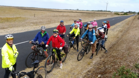 Having Battled a headwind to ride from Kingston SE to Cape Jaffa, the ride back was a breeze, with a strong tail wind. Hence the smiles as we re-grouped before hitting the highway back to Kingston. Photo Taken by Geoffrey.