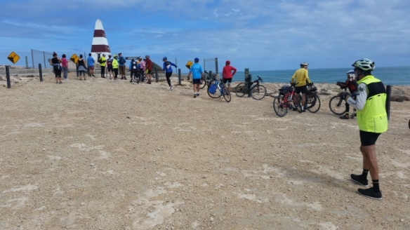 We then rode up to the Robe Obelisk. The fence around the Obelisk is needed as there is the danger of falling off the cliffs. One day the Obelisk might fall off itself! Photo taken by Geoffrey.